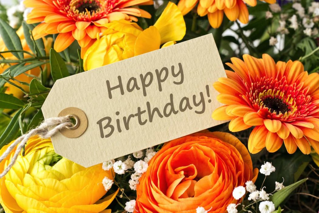 Bouquet,With,Roses,,Gerbera,And,Anemones,With,Birthday,Card/happy,Birthday/english